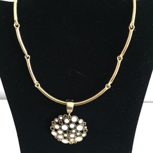 Gold and White & Enamel Floral Style Necklace